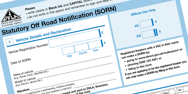 SORN Rules Simplified For Untaxed Vehicles